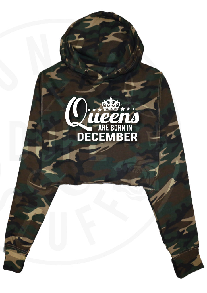 Queens Are Born In December Cropped Hoodie