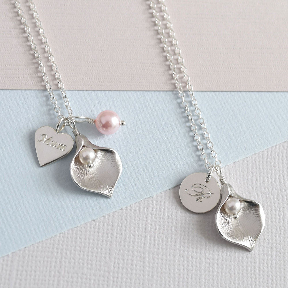 Calla Lily Initial Necklace - Mia Belle Jewellery