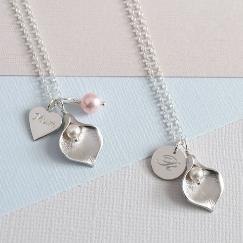 Calla Lily Initial Necklace - Away - Mia Belle Jewellery