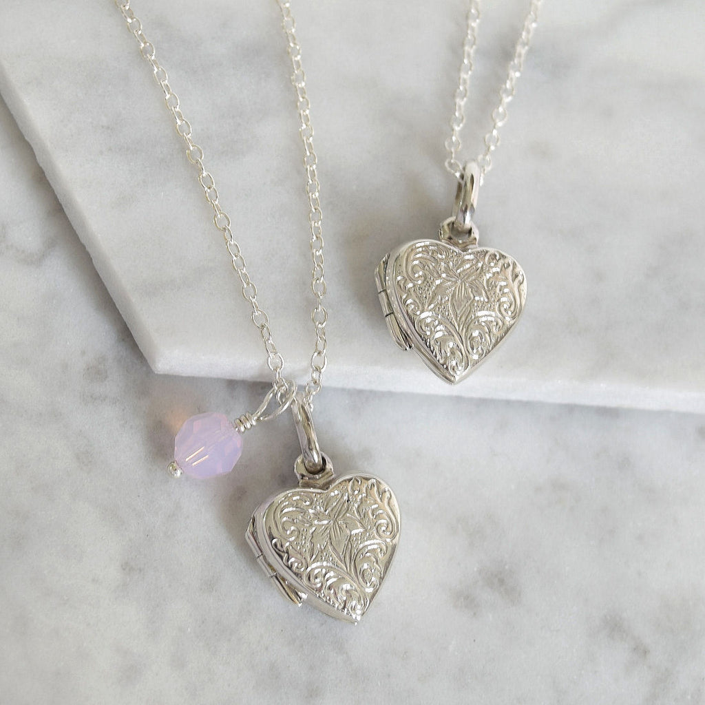 Sterling Silver Etched Heart Locket - Mia Belle Jewellery