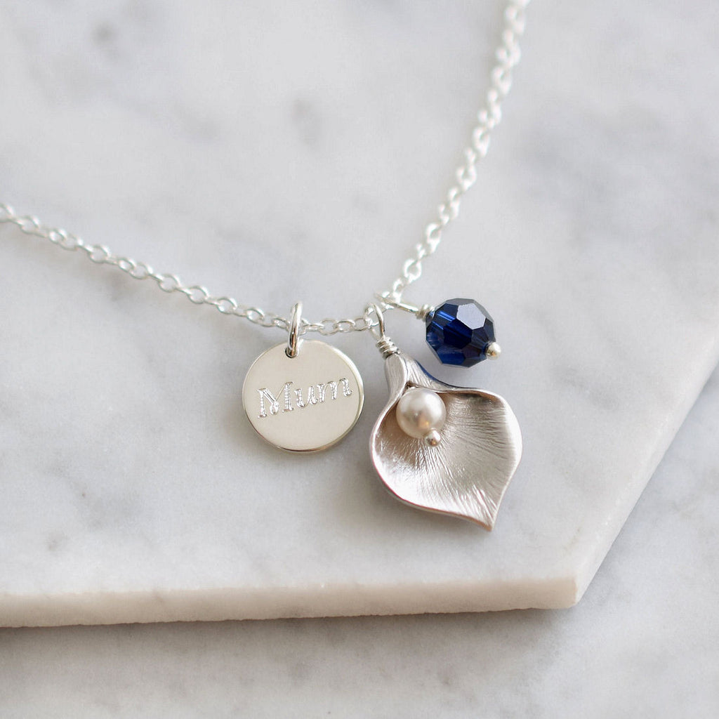 Personalised Calla Lily Necklace - Mia Belle Jewellery