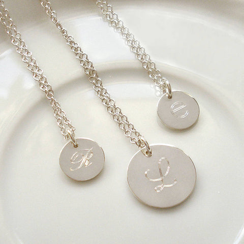 Sterling Silver Engraved Initial Necklace - Mia Belle Jewellery