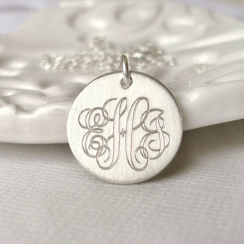 Classic Sterling Silver Monogram Necklace