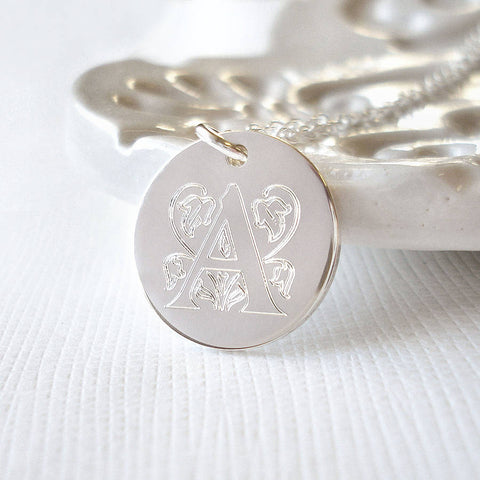 Sterling Silver Medium Decorative Initial Necklace