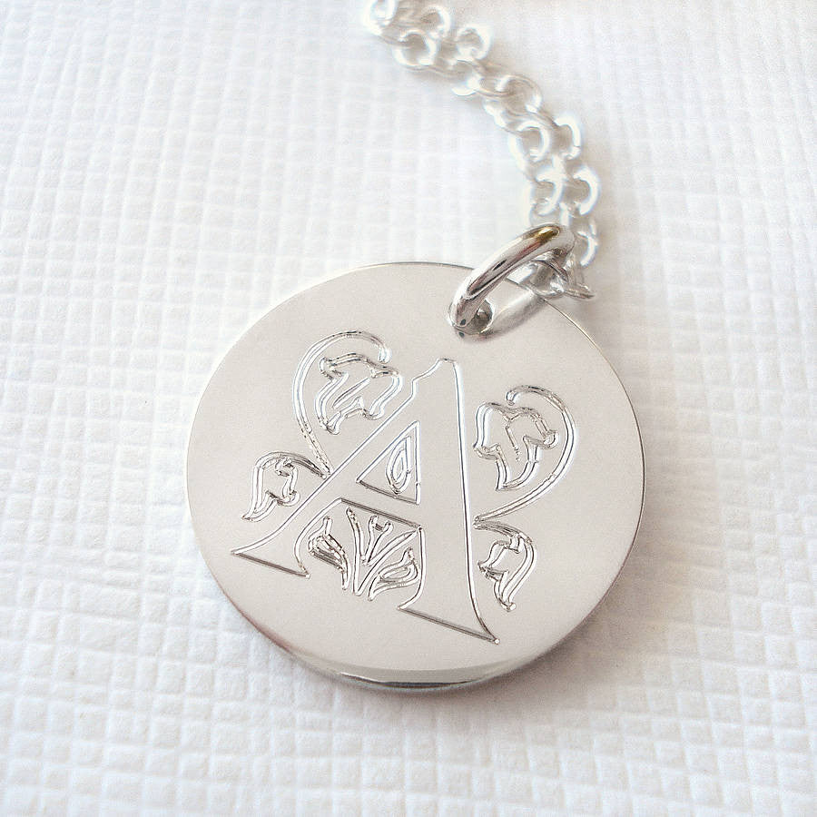 Sterling Silver Large Decorative Initial Necklace - Mia Belle Jewellery