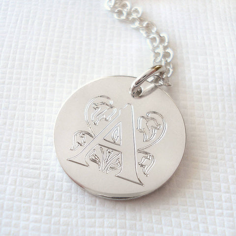 Sterling Silver Large Decorative Initial Necklace