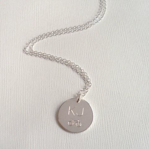 Men's Engraved Monogram Bike Necklace - Mia Belle Jewellery