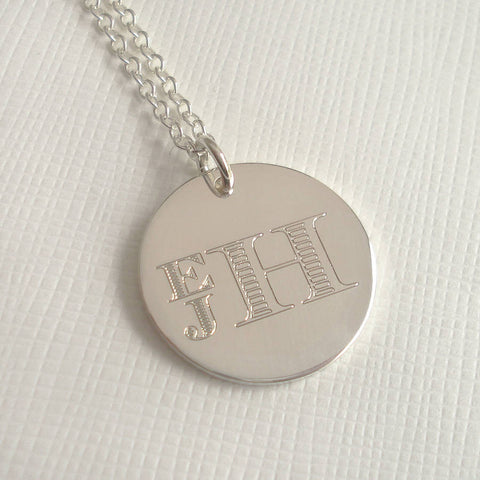 Engraved Monogram Stacked Necklace