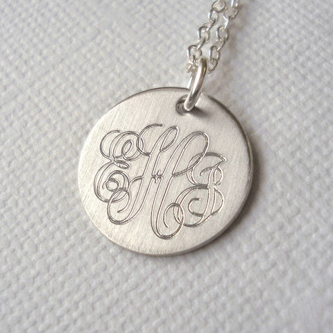 Men's Classic Sterling Silver Monogram Necklace
