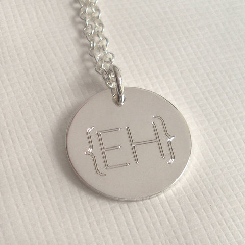 Modern Monogram Parentheses Necklace