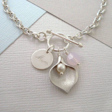 Personalised Calla Lily Bracelet - Mia Belle Jewellery
