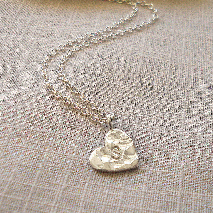 Personalised Silver Hammered Heart Necklace - Mia Belle Jewellery