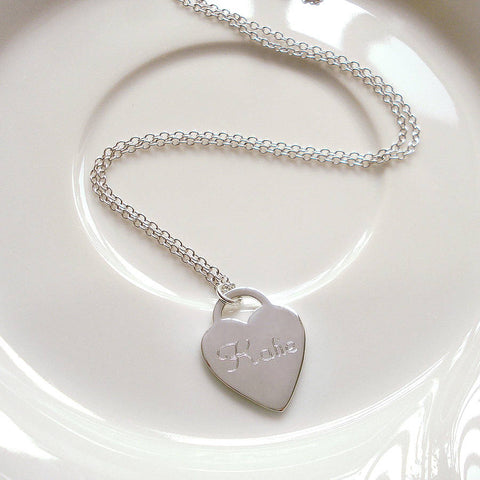 Personalised Silver Heart Necklace - Mia Belle Jewellery