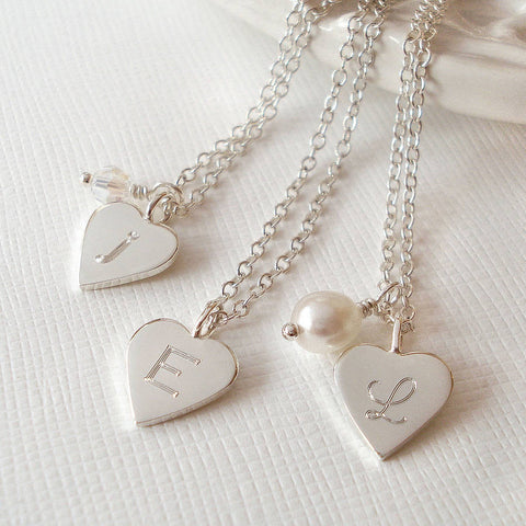 Personalised Silver Tiny Love Heart Necklace - Mia Belle Jewellery