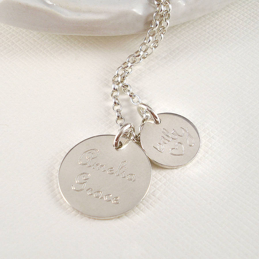 Personalised Silver New Baby Necklace - Mia Belle Jewellery