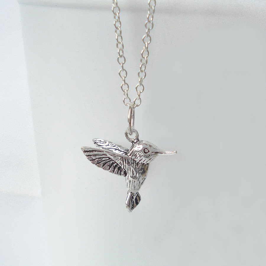 Sterling Silver Antique Hummingbird Necklace - Mia Belle Jewellery