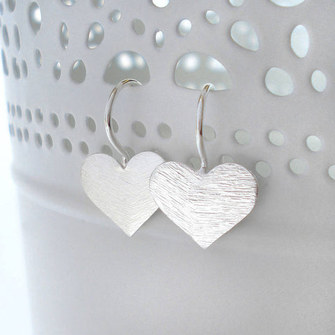 Sterling Silver Brushed Heart Earrings - Mia Belle Jewellery