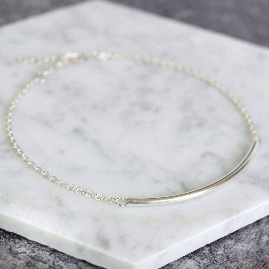 Sterling Silver Curved Bar Bracelet - Mia Belle Jewellery
