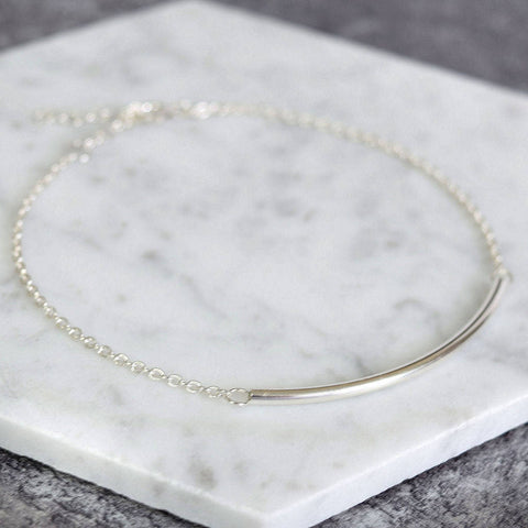 Sterling Silver Curved Bar Bracelet