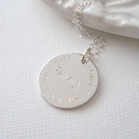 Sterling Silver Engraved Family Necklace - Mia Belle Jewellery