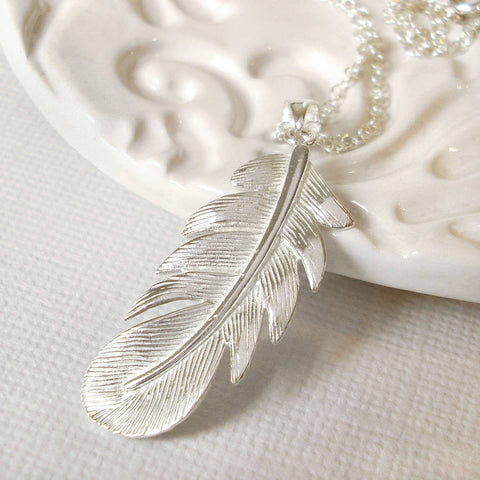 Sterling Silver Feather Necklace - Mia Belle Jewellery