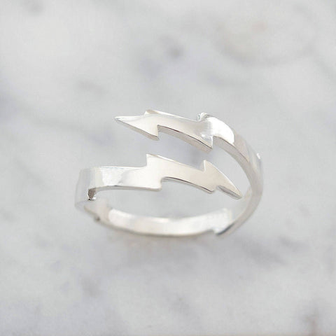 Sterling Silver Lightning Bolt Wrap Ring