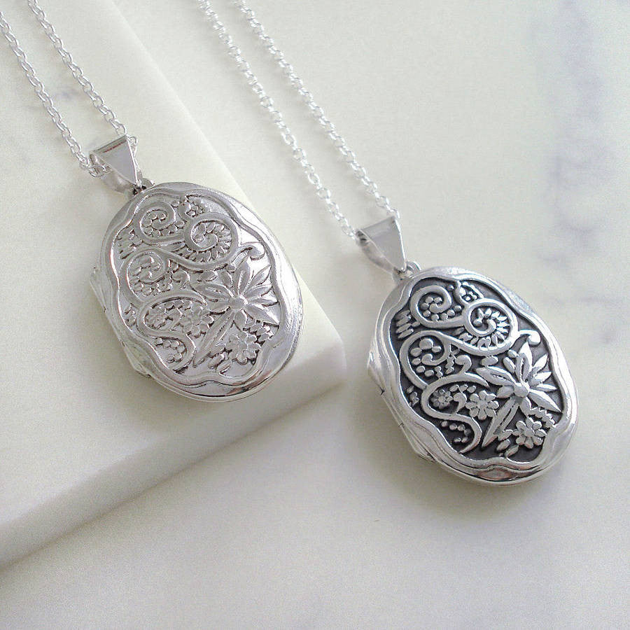 Sterling Silver Oval Floral Locket - Mia Belle Jewellery