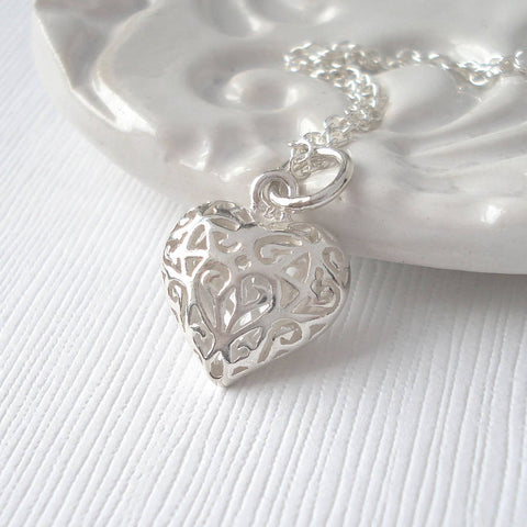 Sterling Silver Puffed Filigree Heart Necklace