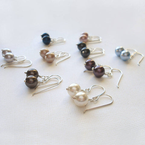 Silver Earrings Made With Swarovski Pearls - Mia Belle Jewellery