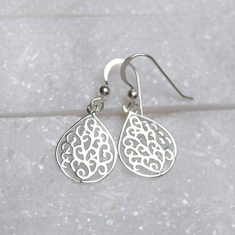 Sterling Silver Tear Drop Filigree Earrings