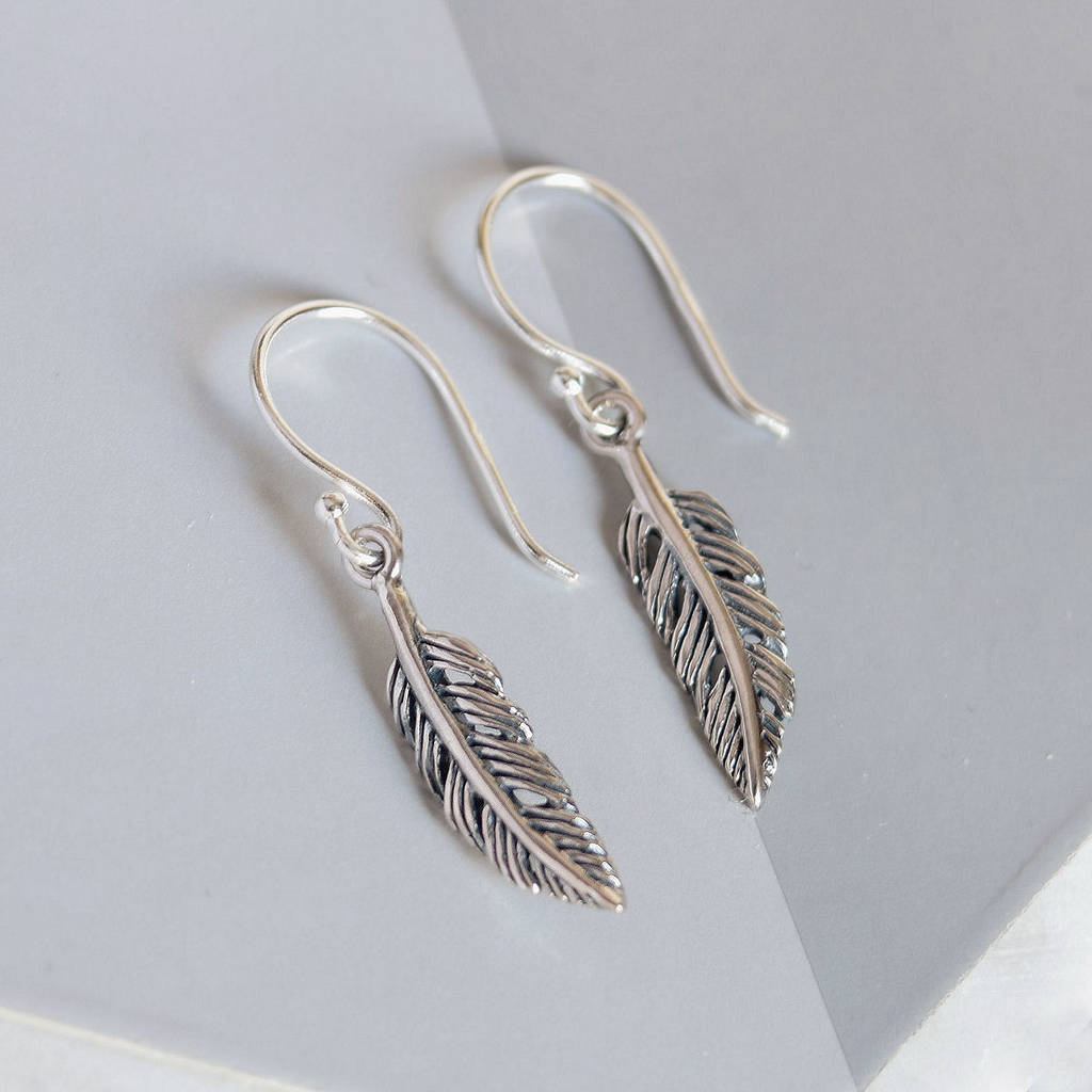 Sterling Silver Tiny Feather Earrings - Mia Belle Jewellery