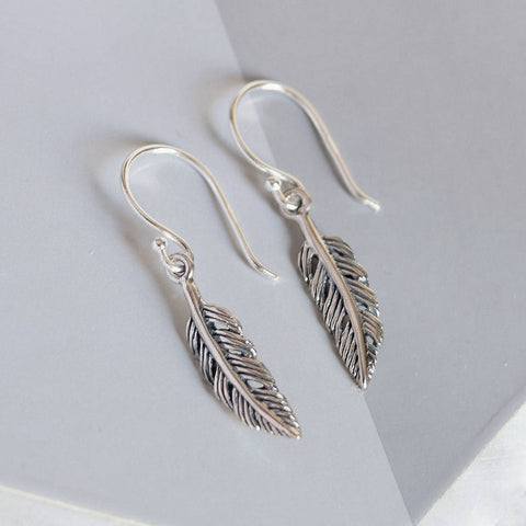 Sterling Silver Tiny Feather Earrings