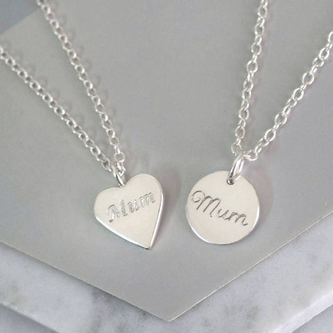 Sterling Silver Tiny Mum Charm Necklace