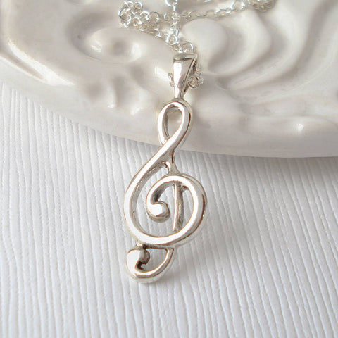Sterling Silver Treble Clef Necklace