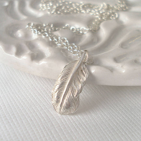 Sterling Silver Tiny Feather Necklace - Mia Belle Jewellery