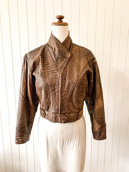 Vintage 1980s leather boomer jacket