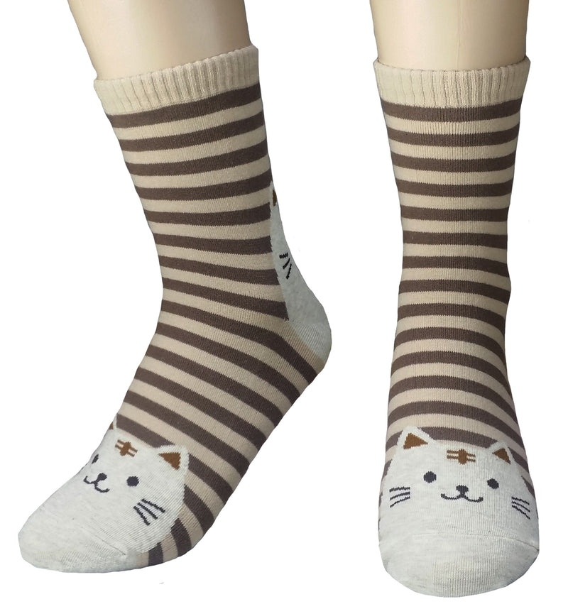 Kitty Face Toes Striped Cotton Blend Socks