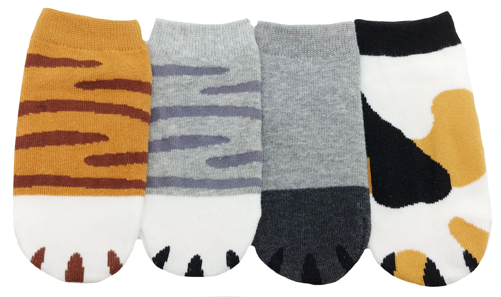 JJMax Kid's Cute Kitty Cat Paws Socks with Paw Prints on Toes (Ankle Height)