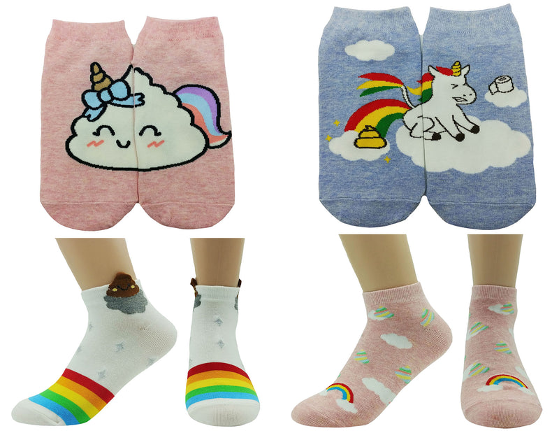 JJMax Hello Kitty Hidden Kitty Cat Ankle Cotton Blend Socks