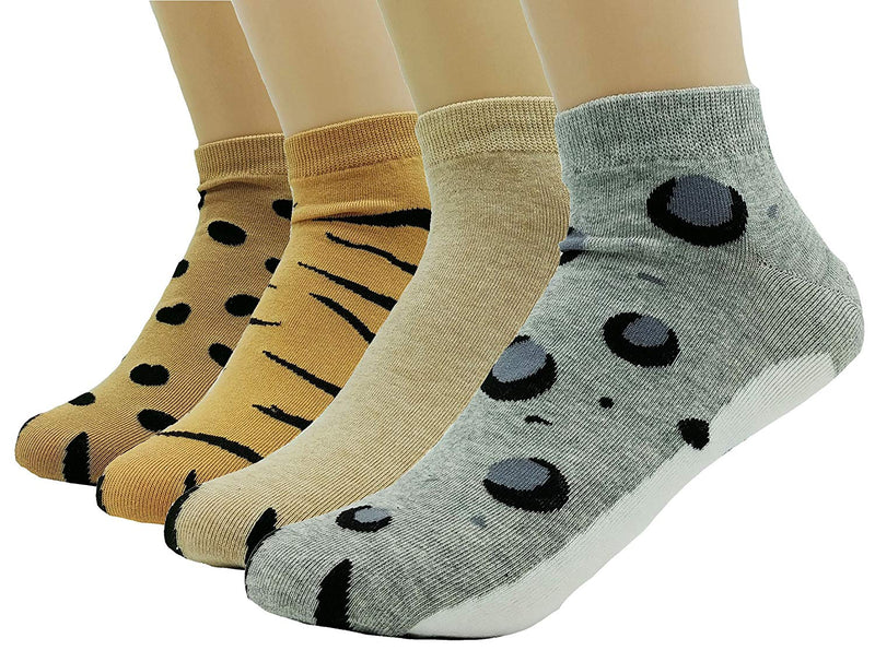 JJMax Women's Cute Big Safari Cat Paws Socks with Paw Prints on Toes (Ankle Height)