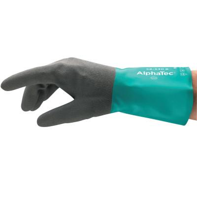 Ansell AlphaTec Gloves, 8, Black/Teal, 123810