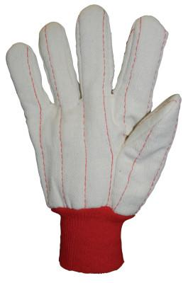 Anchor Products 1000 Series Canvas Gloves, Large, Off-White, Red Knit-Wrist Cuff, 790NIR