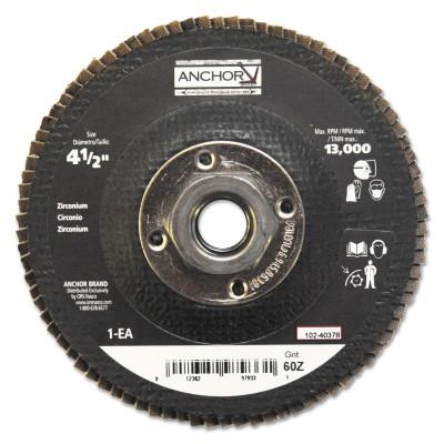 Anchor Products Abrasive High Density Flap Discs, 4 1/2 in Dia, 60 Grit, 5/8-11 Arbor, Type 27, 97933