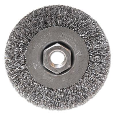 "Anchor Products Light Duty Crimped Wheel Brushes, 4 D x 1/2 W, 0.014 Carbon Steel, 5/8"" - 11 UNC, 93047"