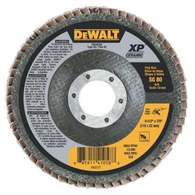 DeWalt® XP Ceramic Type 27 Flap Discs, 4 1/2 in, 80 Grit, 7/8 in Arbor, DWA8282