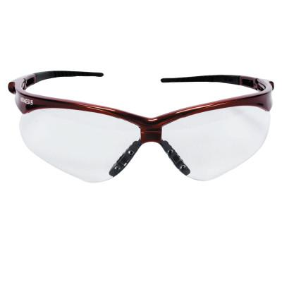 JACKSON SAFETY V30 Nemesis Safety Glasses, Clear Lens, Anti-Fog, Inferno/Red Frame, 47378