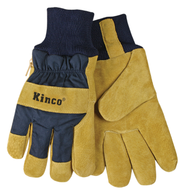 Kinco 1926KW Lined Split Pigskins Leather Palm w/ Knit Wrist - AMMC