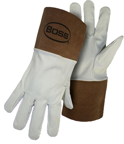 Boss 1JL0600 Goatskin Tig Welder w/ Gauntlet Cuff, Leather Gloves - AMMC