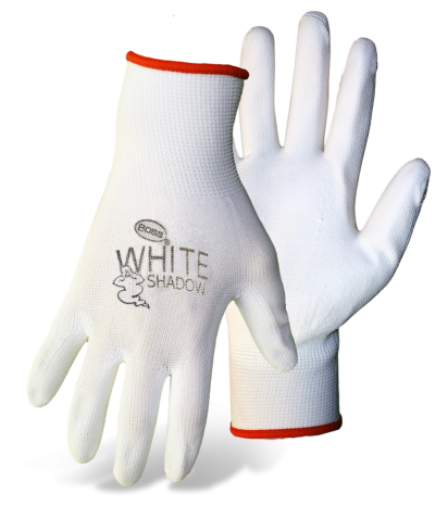 Boss 1PU2500 White Shadow Palm Dip Non-Slip Assembly Gloves - AMMC