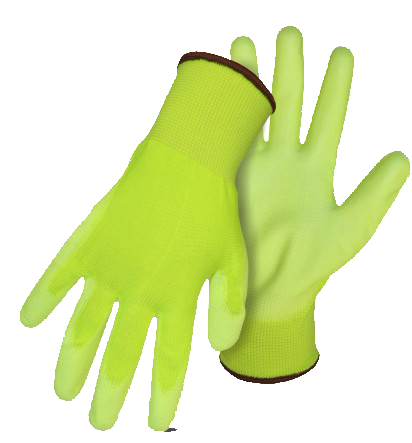 Boss 1PU3000N Palm Dip Hi-Vis Green Assembly Gloves - AMMC